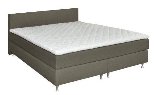 luxus boxspringbett mit niedrigem kopfteil 90cm f r schr ge 180x200 h3 inkl topper hellgrau. Black Bedroom Furniture Sets. Home Design Ideas