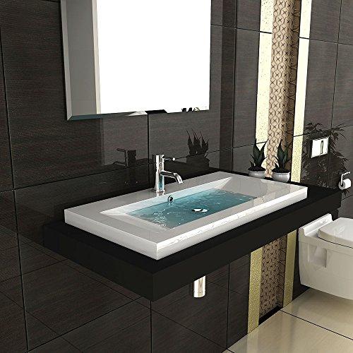 Modernes Badezimmer Aufsatzbecken aus Mineralguss Hochglanz Waschbecken Becken 90 cm Breit Gäste WC Lösung
