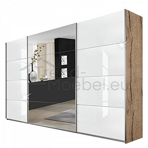 Rauch V0423.V011 Schwebetürenschrank Quadra / 3-türig / 1 Spiegeltüre / B 315 H 210 T 62 / Korpus: eiche-sanremo-hell, Fronten: weiss-hochglanz, mittig Spiegelfront