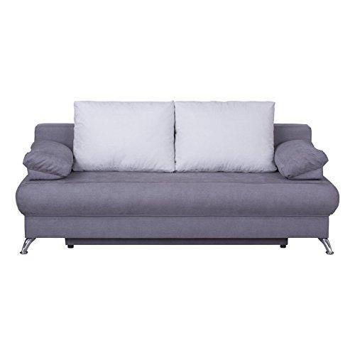 Schlafsofa Schlafcouch MILA, in grau hellgrau, mit Bettkasten und Kissen, Microfaserbezug