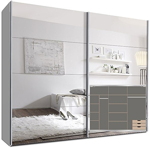 Schwebetürenschrank SWITCHBOX 270 cm Weiß mit Spiegeltüren inkl. Zubehör