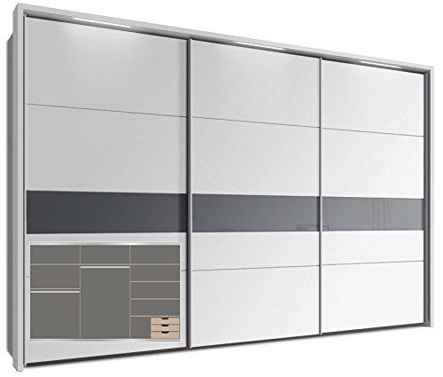 Schwebetürenschrank, ca. 340 cm, inkl. Passepartout mit 3 x LED Stripes & praktische Ausstattung, Weiß, Glas, Kleiderschrank
