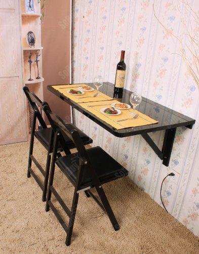 SoBuy® Wandklapptisch, Klapptisch, Esstisch, küchentisch aus MDF, 100 x 60cm, Ohne Stuhl FWT06 (Schwarz)