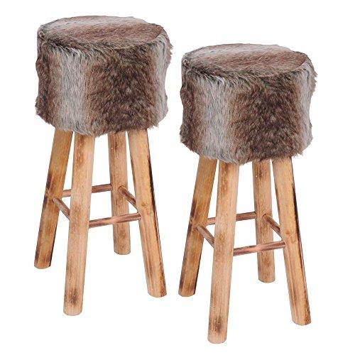 toci barhocker aus holz mit kunstfell bezogen fell hocker mit 4 stabilen holzbeinen im. Black Bedroom Furniture Sets. Home Design Ideas
