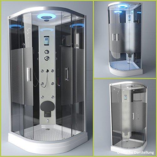 TroniTechnik Dampfdusche Duschtempel Duschkabine Dusche Eckdusche Komplettdusche S100XB2HG01 100x100