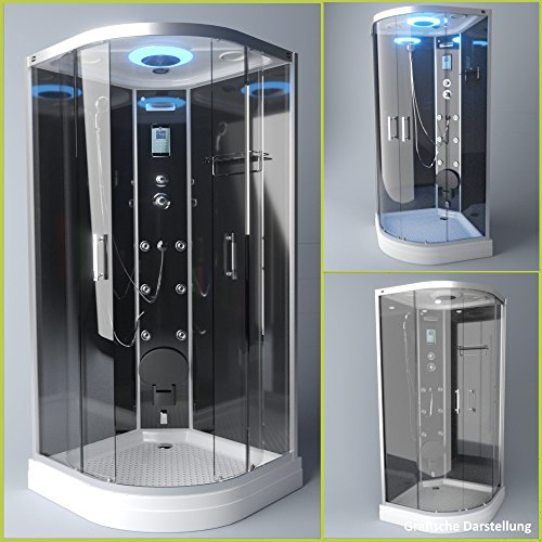 TroniTechnik Dampfdusche Duschtempel Duschkabine Dusche Eckdusche Komplettdusche S100XE1KG01 100x100
