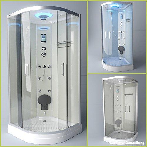 TroniTechnik Dampfdusche Duschtempel Duschkabine Dusche Eckdusche Komplettdusche S100XE2KG02 100x100
