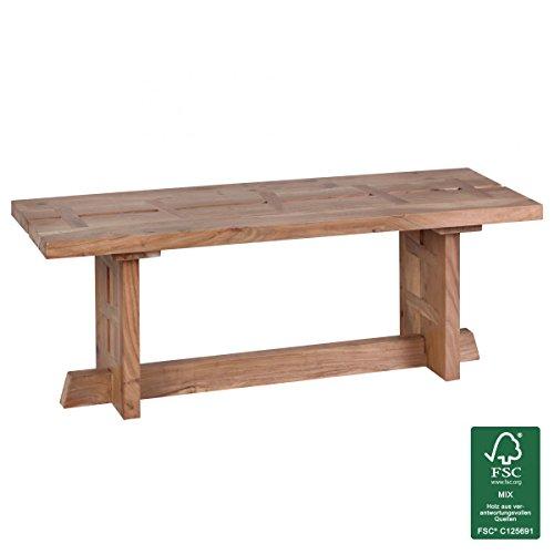WOHNLING Esszimmer Sitzbank Massiv-Holz Akazie 118 x 45 x 40 cm Design Holz-Bank Natur-Produkt Küchenbank Landhaus-Stil dunkel-braun Bank 3-Sitzer für innen ohne Rücken-Lehne Echt-Holz unbehandelt