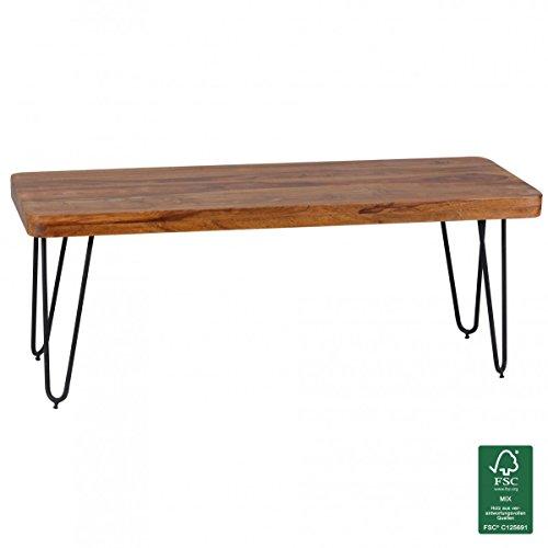 Wohnling WL1.507 Massivholz Sheesham Sitzbank Esszimmerbank Holz 120 x 40 x 45 cm, natur