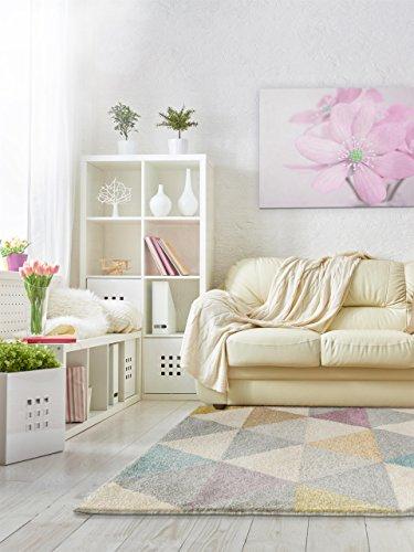 benuta Teppiche: Moderner Designer Teppich Pastel Geomet Multicolor 140x200 cm - GuT-Siegel - 100% Polypropylen - Geometrisch - Maschinengewebt - Wohnzimmer