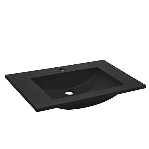 [neu.haus] Waschbecken Einbauwaschbecken Handwaschbecken - schwarz - 60x46x14,5cm - aus Mineralguss