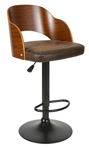 ts-ideen 1x Design Club Barhocker Barstuhl Küchen Esszimmer Stuhl Sitz in Braun + Holz