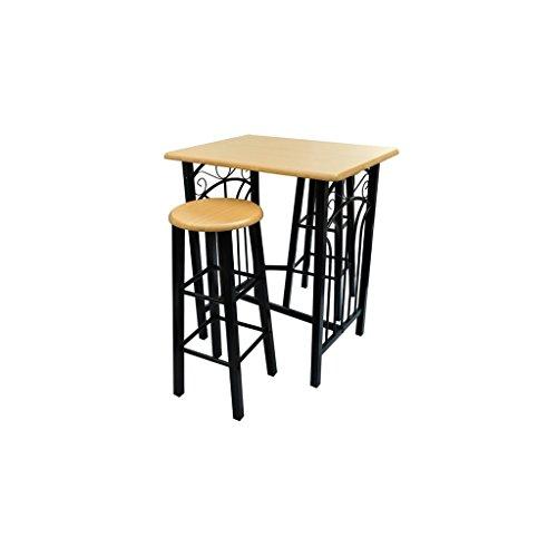 vidaXL Buche BARSET 2x Barhocker Stühle Stehtisch Bartisch