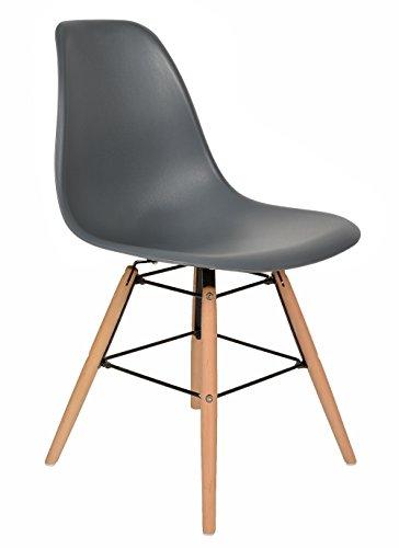 1 x Design Klassiker Stuhl Retro 50er Jahre Barstuhl Küchenstuhl Esszimmer Wohnzimmer Sitz in Grau mit Holz