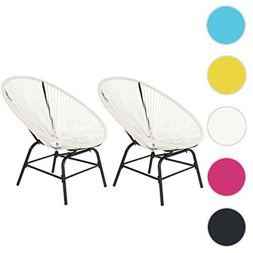 2x Poly-Rattan Gartensessel Suzano, Gartenstuhl Spaghetti Stuhl, 70er Retro-Design ~ weiß