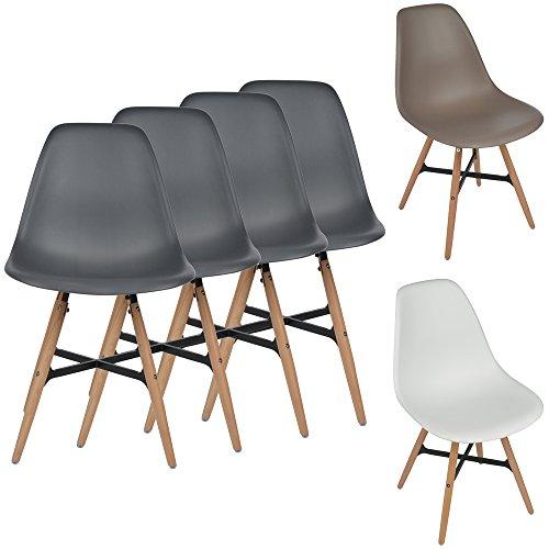 4er Set Retro Design Esszimmerstühle Kunststoff 46 cm Sitzhöhe Buchenholz naturbelassen Sitz-Möbel