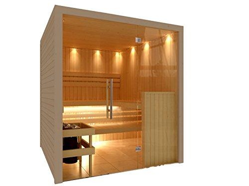 C-Quel Royal Sauna Glasfront 1946mm x 1598mm x 2040mm inkl. Zubehörset 9kW Saunaofen