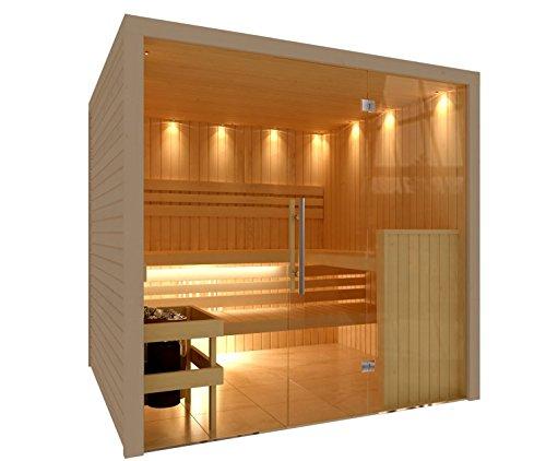 C-Quel Royal Sauna Glasfront 1946mm x 1955mm x 2040mm inkl. Zubehörset 9kW Saunaofen