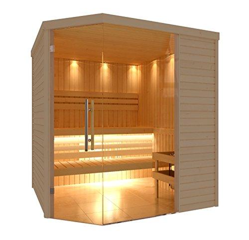 C-Quel Royal Sauna Glasfront Eckmodell 1940mm x 2090mm x 2040mm inkl. Zubehörset 9kW Saunaofen