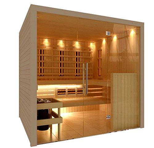 C-Quel Royal Sauna Infrarot Kombination Glasfront 1946mm x 1555mm x 2040mm inkl. Zubehörset 9kW Saunaofen