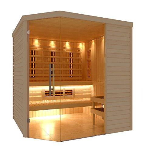 C-Quel Royal Sauna Infrarot Kombination Glasfront Eckmodell 1940mm x 2090mm x 2040mm inkl. Zubehörset 9kW Saunaofen