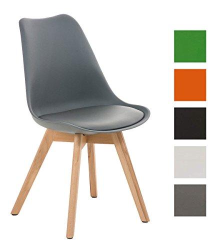 CLP Design Retro Stuhl BORNEO mit Holzgestell natura, Materialmix aus Kunststoff, Kunstleder und Holz, bis zu 5 Farben wählbar