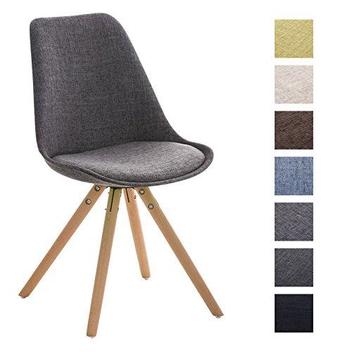 CLP Design Retro Stuhl PEGLEG, Holzgestell natura, Esszimmer-Stuhl Stoffsitz