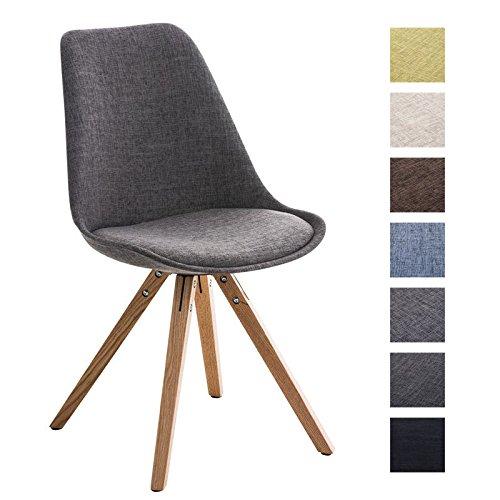 CLP Retro Stuhl PEGLEG SQUARE mit Holzgestell natura und Stoffsitz, Besucherstuhl im stilvollen Design, FARBWAHL