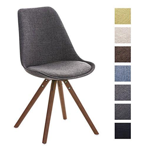 CLP Retro Stuhl PEGLEG mit Holzgestell walnuss und Stoffsitz, Besucherstuhl im stilvollen Design, FARBWAHL