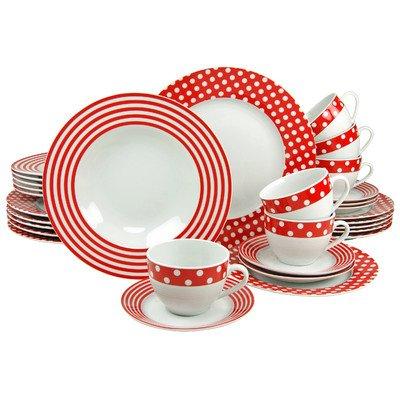 Creatable 19724 Serie Uno Punkte rot-weiß, Kombiservice, Porzellan, mehrfarbig, 34,5 x 28,5 x 35,5 cm, 30 Einheiten
