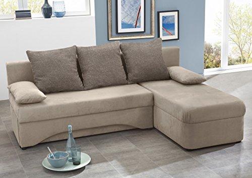 Ecksofa Pollux 191x142cm schlamm grau-braun Mikrofaser Schlafsofa Couch PolstereckeSofa Wohnlandschaft Eckcouch