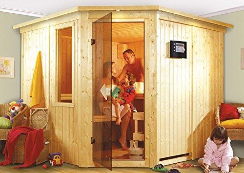 Farin - Karibu Sauna inkl. 9-kW-Ofen - ohne Dachkranz - Außenmaß (B x T): 231 x 231 cm Innenmaß (B x T): 216 x 216 cm Wandstärke: 68 mm Liegen: 4 Stück Dachkranz: nein Ausführung: naturbelassen Ofen: inkl. 9-kW-Ofen Einstieg: Eckeinstieg