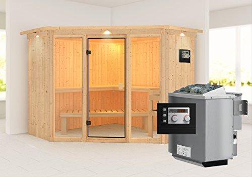 Flora 2 - Karibu Sauna inkl. 9-kW-Bioofen - mit Dachkranz - Außenmaß (B x T): 245 x 245 cm Innenmaß (B x T): 216 x 216 cm Wandstärke: 68 mm Liegen: 3 Stück Dachkranz: nein Ausführung: naturbelassen Ofen: inkl. 9-kW-Bioofen Einstieg: Eckeinstieg