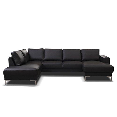 Hikenn Aktuelles Design Kunstleder Ecksofa Couch Polsterecke Houston Eckcouch mit Schlaffunktion und Bettfunktion Schwarz 255x300x147