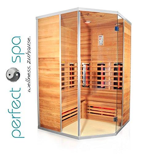 """Infrarotkabine """"Teneriffa"""" Infrarot Sauna für bis zu 3 Personen Wärmekabine Infrarotsauna Eckvariante"""
