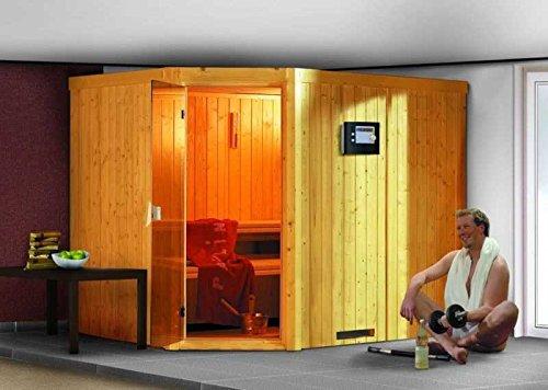 Karibu Aktionssauna OSB 5.2 - inkl. 9-kW-Ofen und GRATIS Zubehör Außenmaß (B x T): 231 x 196 cm Innenmaß (B x T): 216 x 182 cm Wandstärke: 68 mm Liegen: 3 Stück Dachkranz: nein Ausführung: naturbelassen Ofen: inkl. 9-kW-Ofen Einstieg: Eckeinstieg