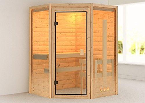 Karibu Sauna Aurel mit Dachkranz (Eckeinstieg) - für niedrige Räume