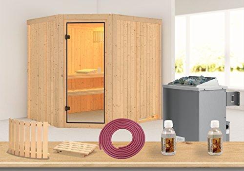 Karibu Sauna Bodo 68mm mit Ofen 9kW intern - Aktion + Gratis Zubehör