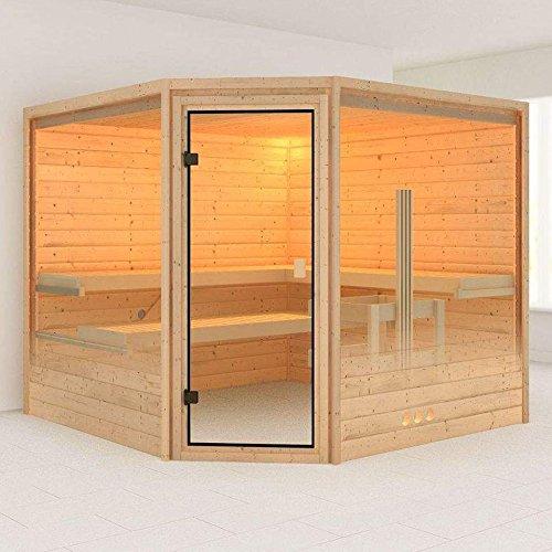 Karibu Sauna Donan mit Dachkranz (Eckeinstieg) - für niedrige Räume