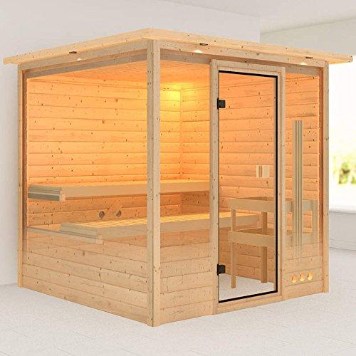 Karibu Sauna Ilya mit Dachkranz (Fronteinstieg) - für niedrige Räume