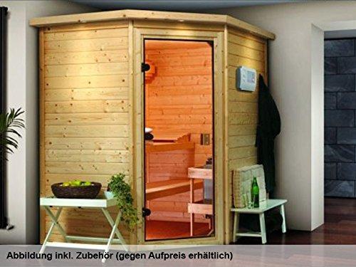karibu sauna mia ohne dachkranz eckeinstieg mit t r. Black Bedroom Furniture Sets. Home Design Ideas
