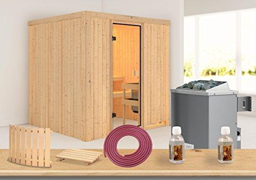 Karibu Sauna Reipa 68mm mit Ofen 9kW intern - Aktion + Gratis Zubehör