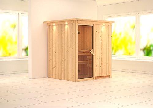 Laurin - Karibu Sauna ohne Ofen - mit Dachkranz - Außenmaß (B x T): 189 x 165 cm Innenmaß (B x T): 160 x 136 cm Wandstärke: 68 mm Liegen: 2 Stück Dachkranz: ja Ausführung: naturbelassen Ofen: ohne Ofen Einstieg: Fronteinstieg