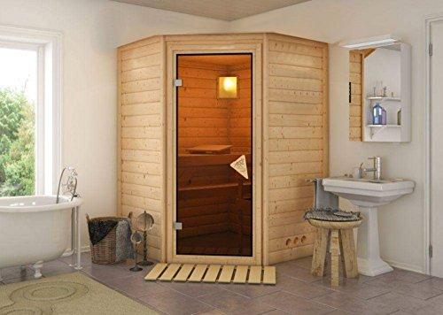 Massivholz Sauna Ronni 144cm x 144cm x 200cm Eckmodell