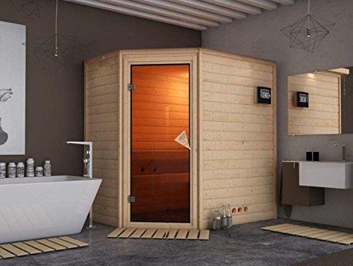Massivholz Sauna Salo 196cm x 144cm x 200cm Eckmodell