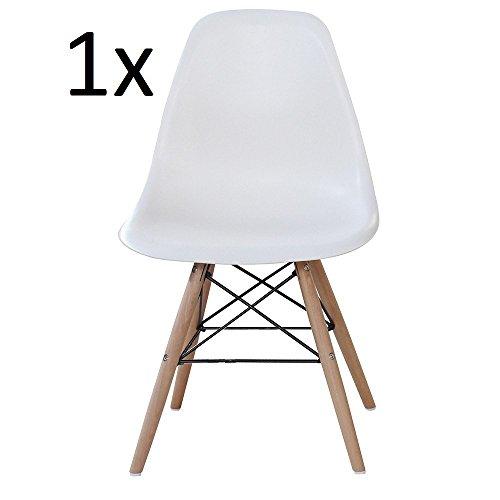 P & N Homewares® Moda Esszimmerstuhl Kunststoff Holz Retro Esszimmer Stühle weiß modernes Möbel