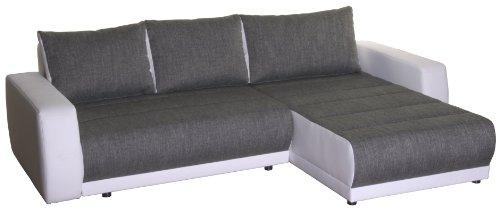 Polsterecke Castell/2er Bett-Longchair/263x82x171 cm/Modena grey-Bison pure white