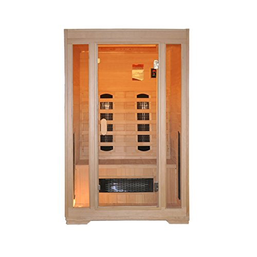 Premium Infrarotkabine 2 Personen Full Spectrum Strahler Vorderwand Glas inkl. USB Media Player