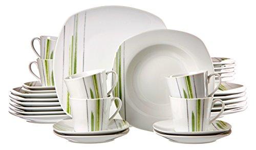 Ritzenhoff & Breker 083040 Kombiservice Pintura, 30-teilig, Porzellangeschirr, weiß/grün