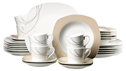 Ritzenhoff & Breker 083910 Kombiservice Linda, 30-teilig, Porzellangeschirr, weiß/creme